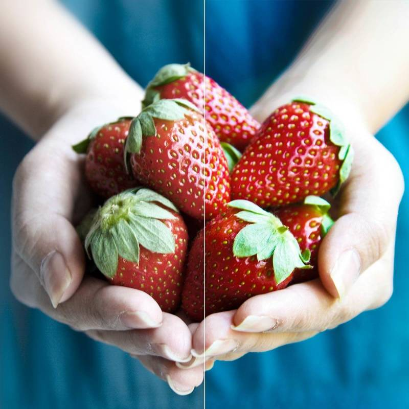 Fix your dull photos (like this strawberries in hands image) with a filter.