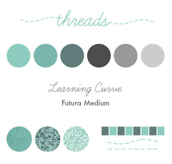 A graphic visual branding style guide, showing a color palette, fonts, a header, and assets.