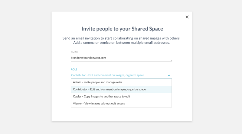 Assign different levels of access permission to collaborators at PicMonkey