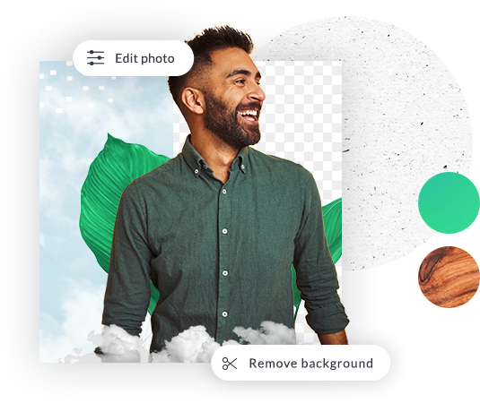 Sampling of PicMonkey Pro tools available for editing photo of smiling man in green shirt: Background Remover, color swatches, textures, photo editing options, and more.