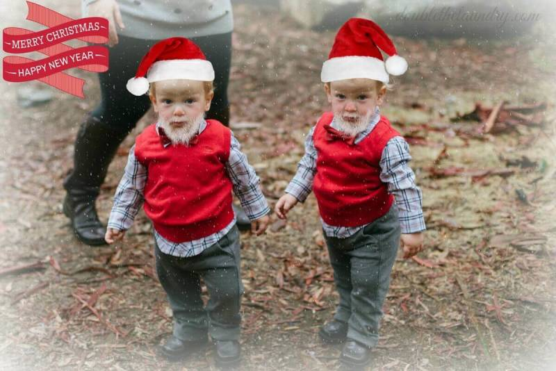 January user content: Kris Kringle twins with Santa-fy photo effects.