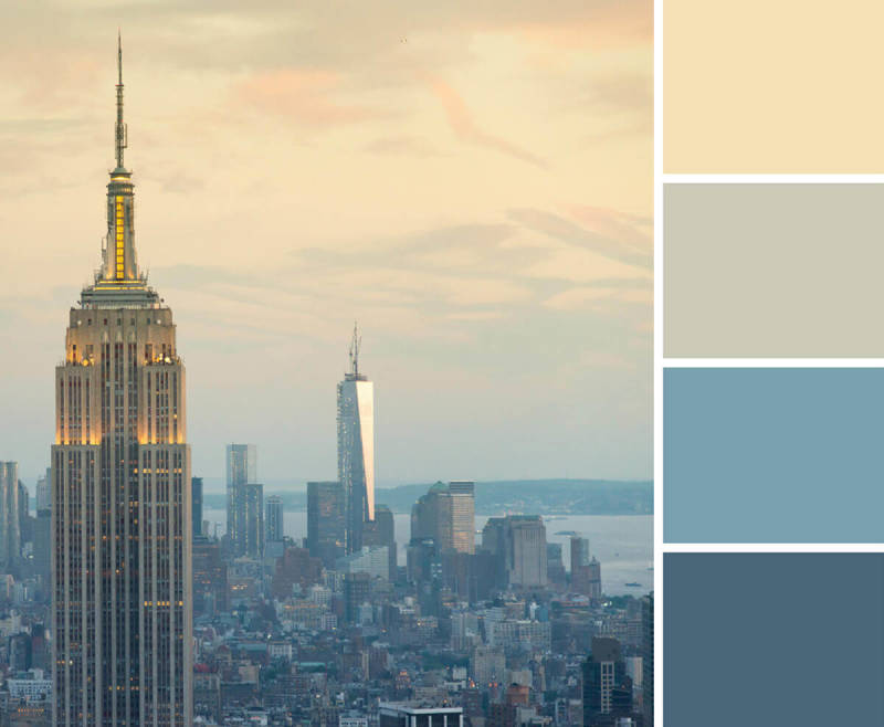 Using a color palette (like this one made from a city skyline) can help keep your designs on track.