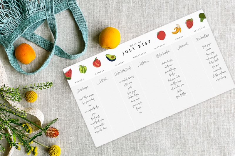 You can plan out your weekly meals and grocery shopping with one of our calendar templates.
