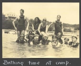 Learn how to preserve captions, notes, and vintage photos (like this black-and-white image of people in bathing suits) with PicMonkey.