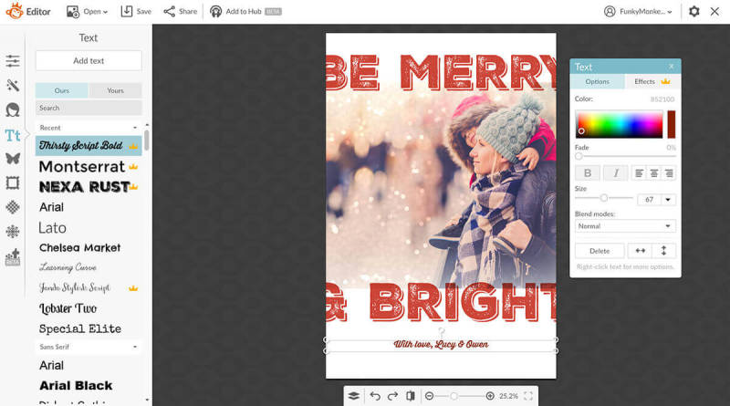 Give our templates your unique touch by easily adjusting your Christmas photo cards' text and graphics.