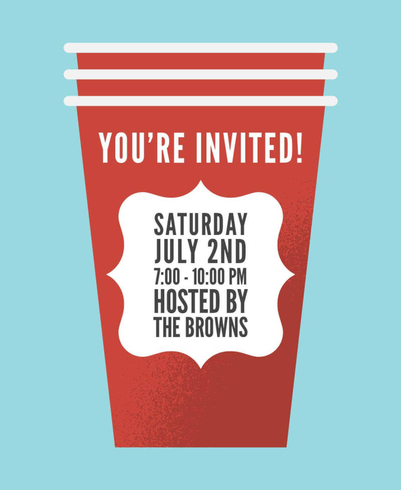 Create gorgeous party invitations with PicMonkey's new 4th of July graphics, like this red party cup.