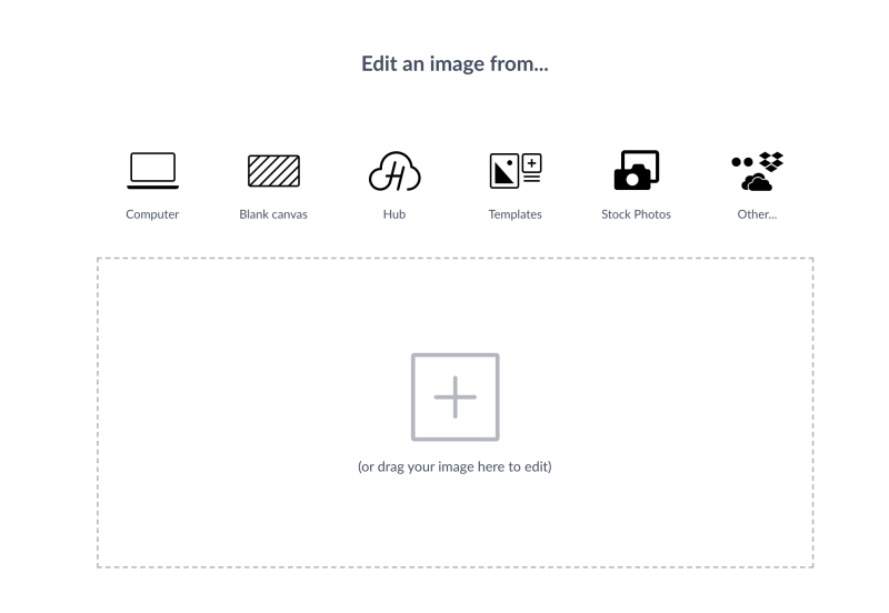 PicMonkey layer photo editor menu that let's you pick where you wanna open your photo from