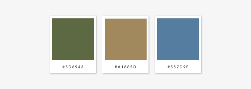 midtone colors green tan blue