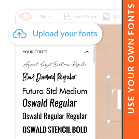 how to upload and use your own fonts in PicMonkey