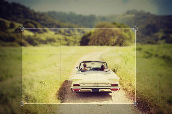 Read PicMonkey's 5 basic photo editing tips include cropping for composition, as seen in this image of a convertible car driving through a field.