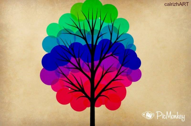 Graphic of a tree with rainbow leaves, made by one of our users.