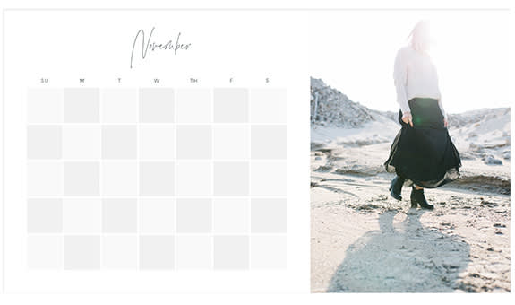 Photo calendar creator templates at PicMonkey