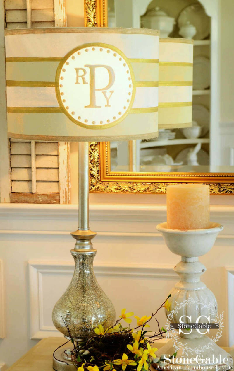 Learn to make a DIY monogram in PicMonkey, and paint that monogram onto a lampshade.