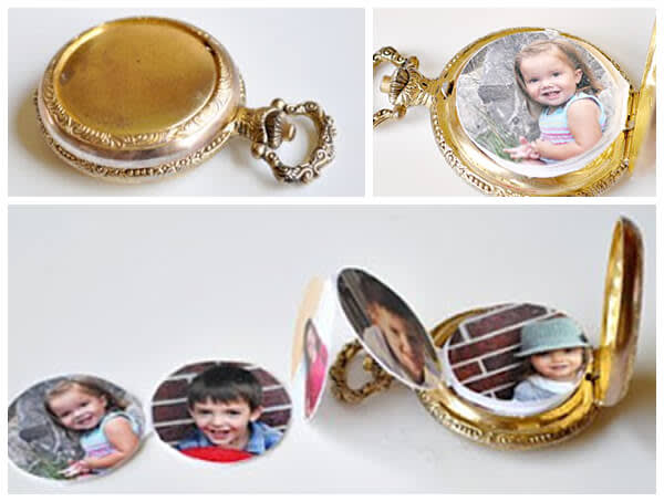 Photo cutouts to put in a locket for Father's Day.