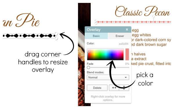 Use the color picker in the Graphic palette to match flourish graphics to your recipe card.