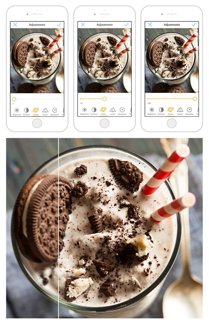 By using the Clarity adjustment in the PicMonkey mobile app, this Oreo milkshake photo become even more delicious looking.