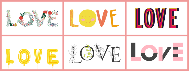 letter set graphics for galentines day cards
