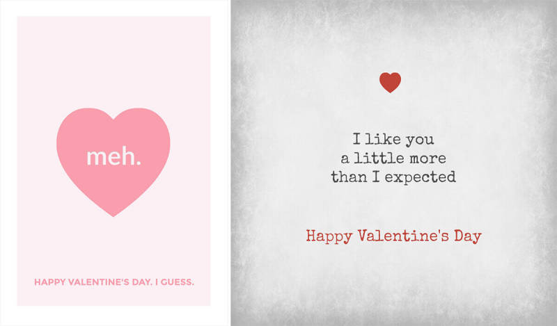 Sarcastic, funny Valentine's Day card templates from PicMonkey.