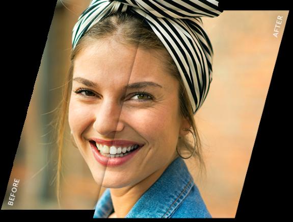 Mujer sonriente con efecto blanqueador de dientes antes y después aplicado a su foto