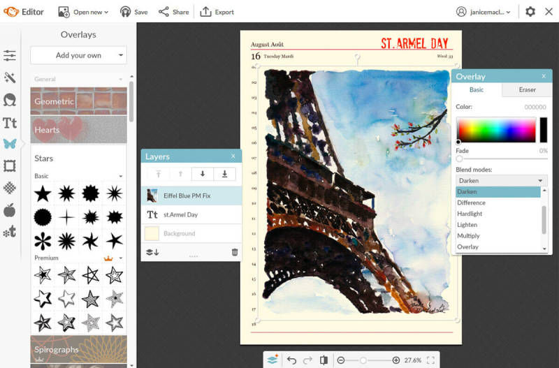 Janice inserts an Eiffel Tower graphic in PicMonkey.