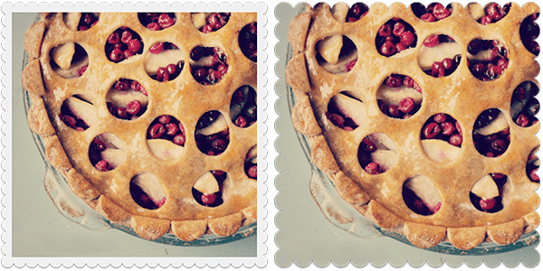 Craft Scissors frames make these pies look mouthwatering. Check out more photo effects and frames on our blog.