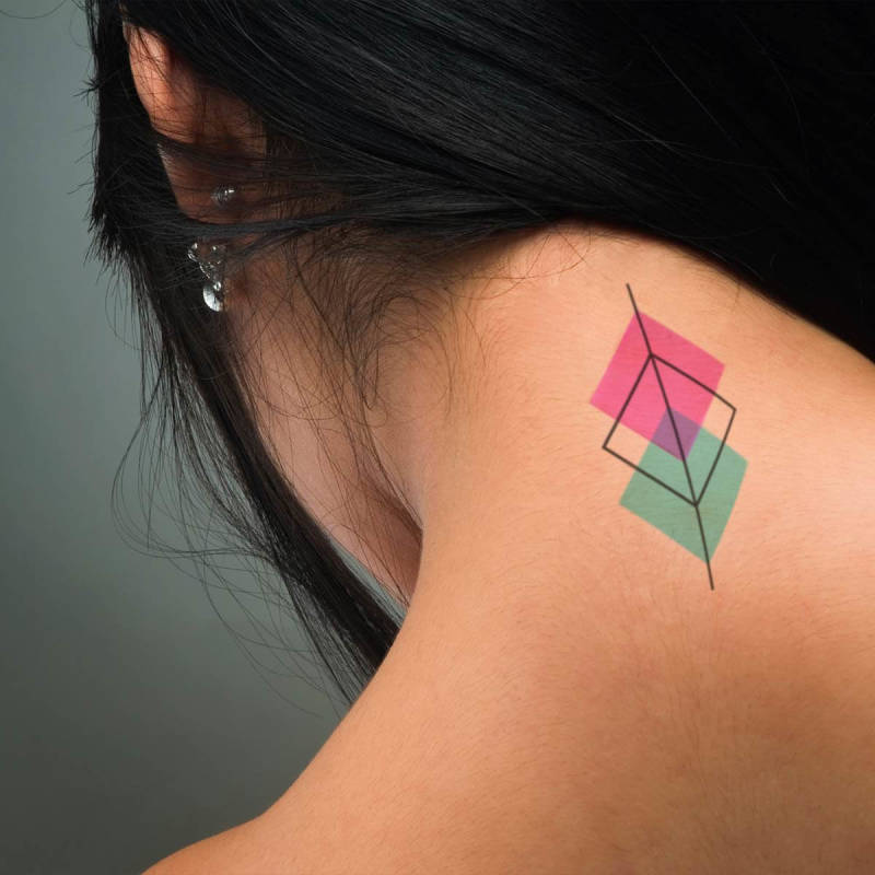 Get on the geometric tattoo trend without commitment by designing your own temporary tattoo.