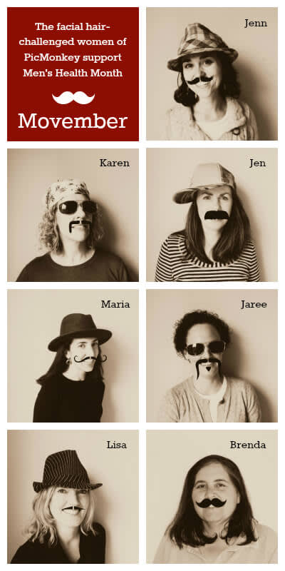 PicMonkey women wearing Movember mustaches to support Men's Health Month.