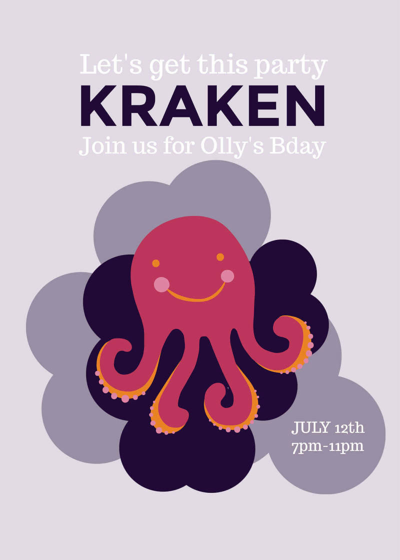 A summer party invitation template featuring a smiling octopus graphic.