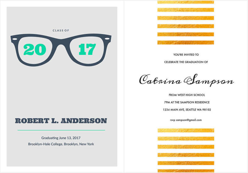 These modern, graphic-centric graduation announcement and invitation templates are easy to customize with PicMonkey.