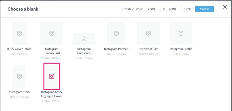 create custom instagram highlight cover