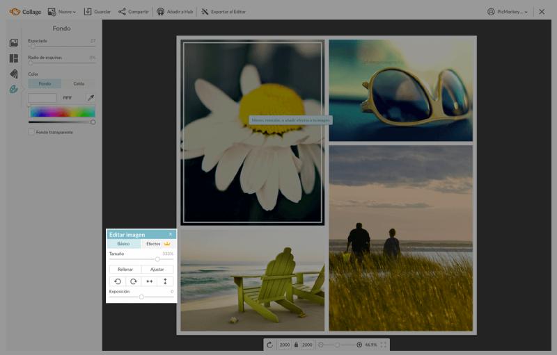 Edita las imágenes directamente en Collage usando nuestra función para editar cada celda.