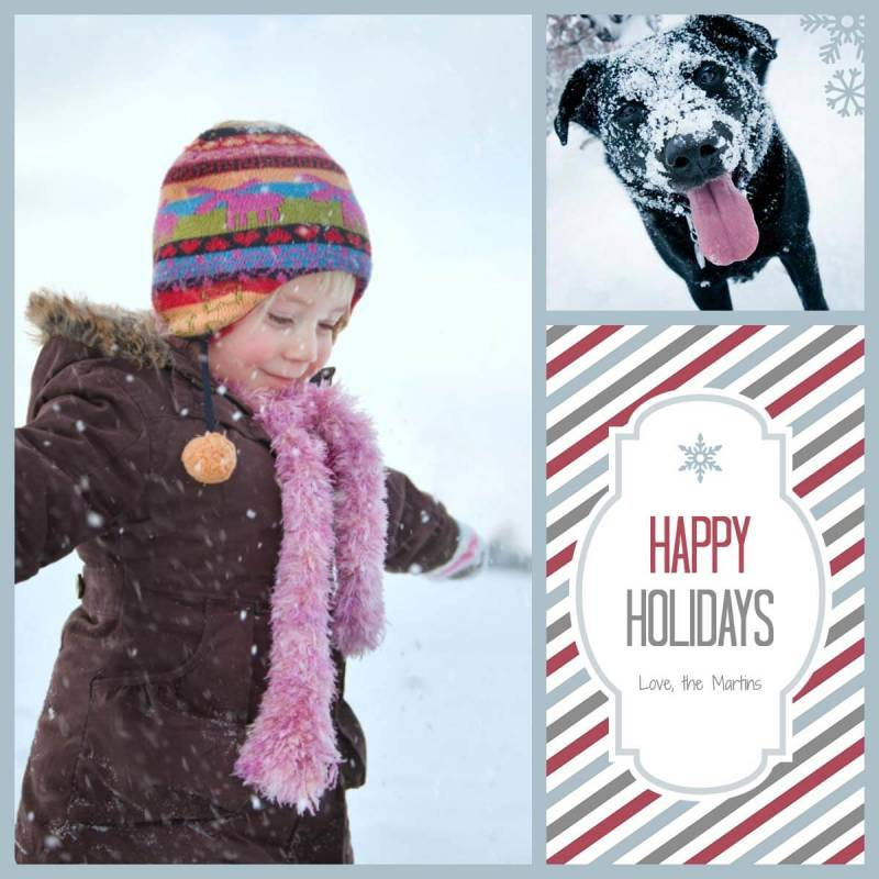 An adorable holiday e-card featuring a kiddo and canine.