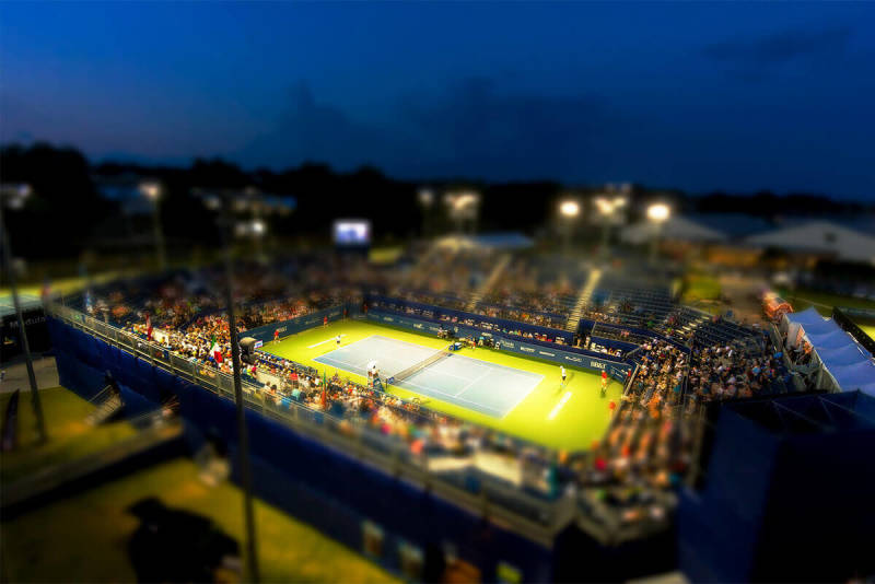 The miniature effect makes this photo of a tennis court look extra cool.