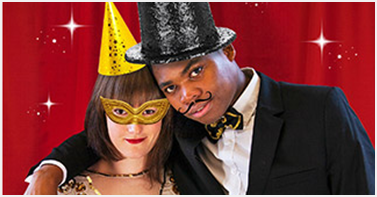 couple with party hats