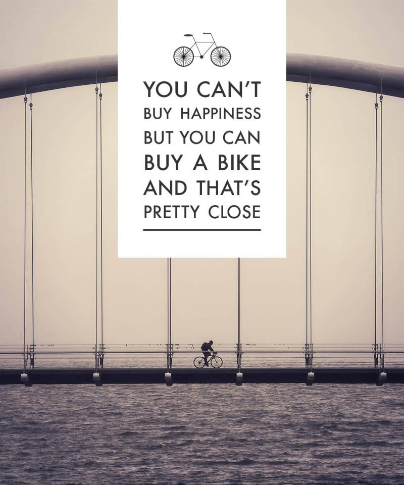 happiness picture quote bicycle