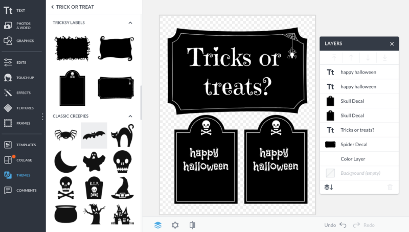 make halloween labels with graphics at picmonkey