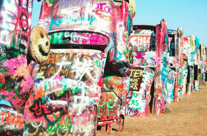 Graffiti-covered cars in Amarillo, TX. Photo taken by PicMonkey user Renea Huffman.