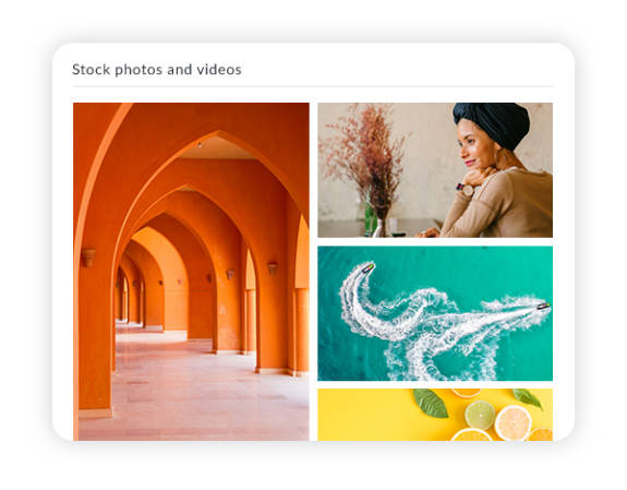 A collage showing a sample of photos of nature, buildings, a person, and abstract shapes.