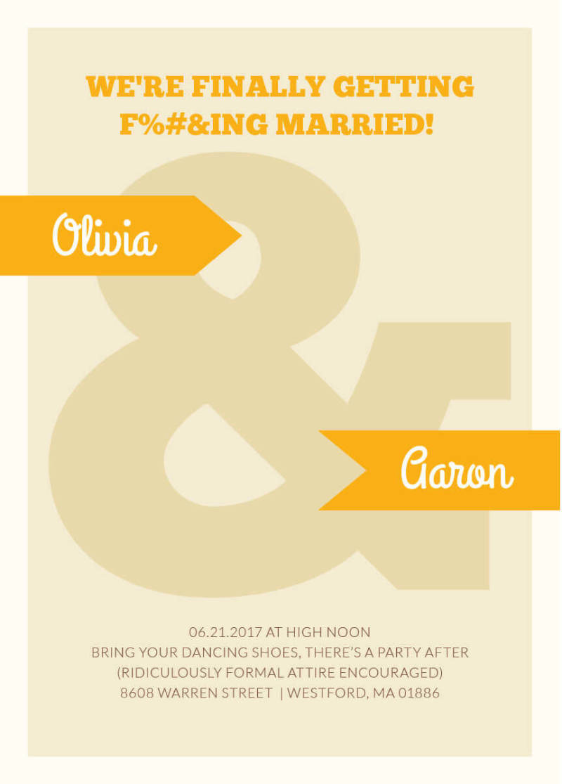 Wedding invitation wording: sometimes, a more relaxed wording better suits your wedding.