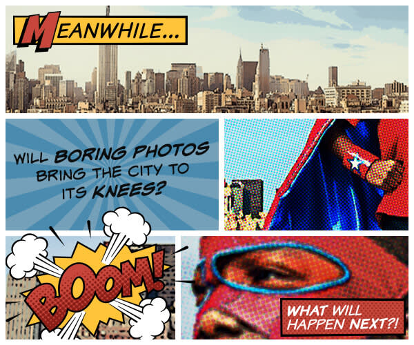 Photo editing with kids: Comic Heroes theme lets them create graphic novelettes!
