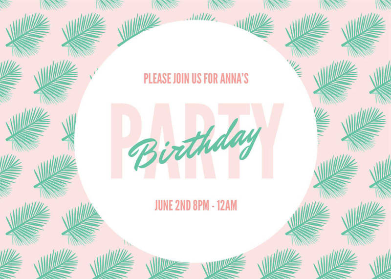 A summer party invitation template featuring palm fronds and bright colors.