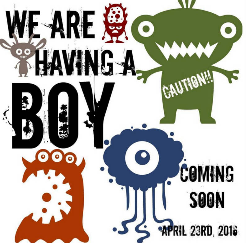 January user content: Birth announcement designed with PicMonkey critter graphics.
