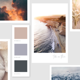 mood board template with ocean and sky theme in neutral colors