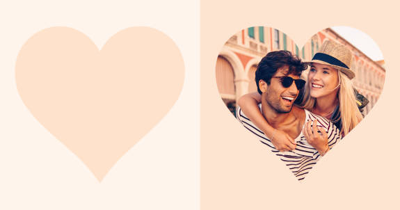 couple in heart cutout