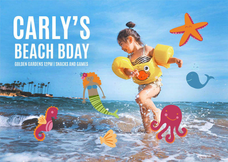 A summer party invitation template featuring a photo and sea creature graphics.