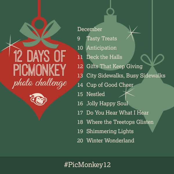 12 Days of PicMonkey daily contest themes with dates for each.