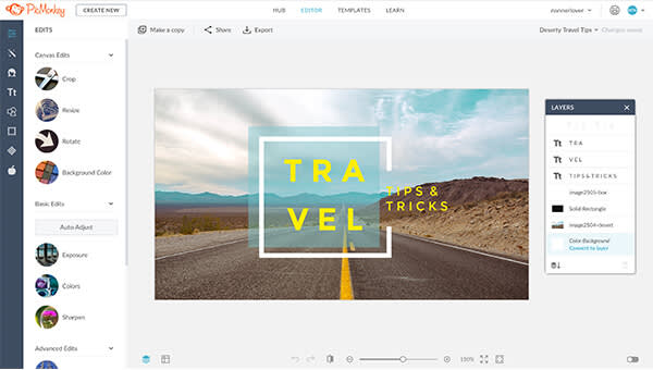 PicMonkey's crop tools offer simple social media sizes for fast design repurposing.