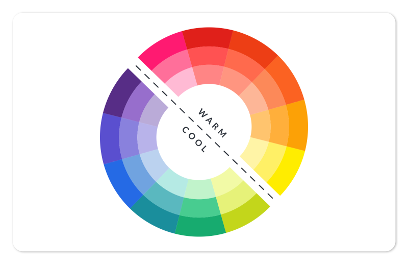 the color wheel divided into warm and cool