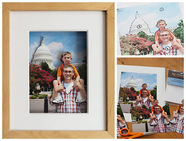 Father's Day pop-out card made from three photos in a shadow box.