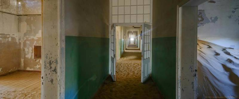 Interior of a building in the Namibian ghost town of Kolmanskop.